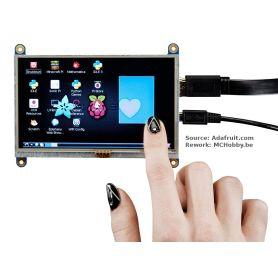 "Affichage HDMI TACTILE pour Raspberry-PI - 800x480 - 5"""
