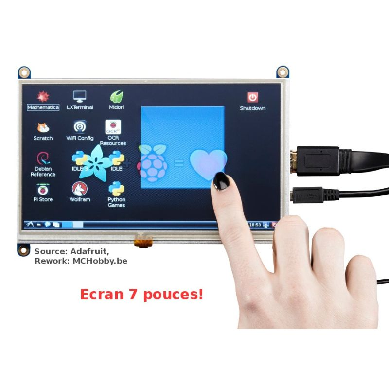HDMI TOUCH display for Raspberry-PI - 800x480 - 7""