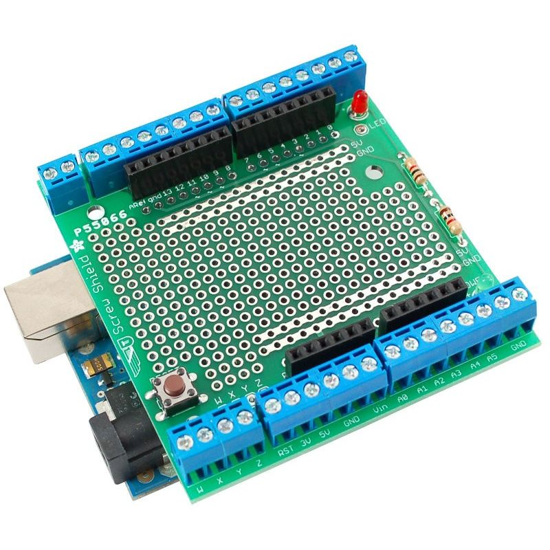 Wingshield assemblé (présenté sur un Arduino)