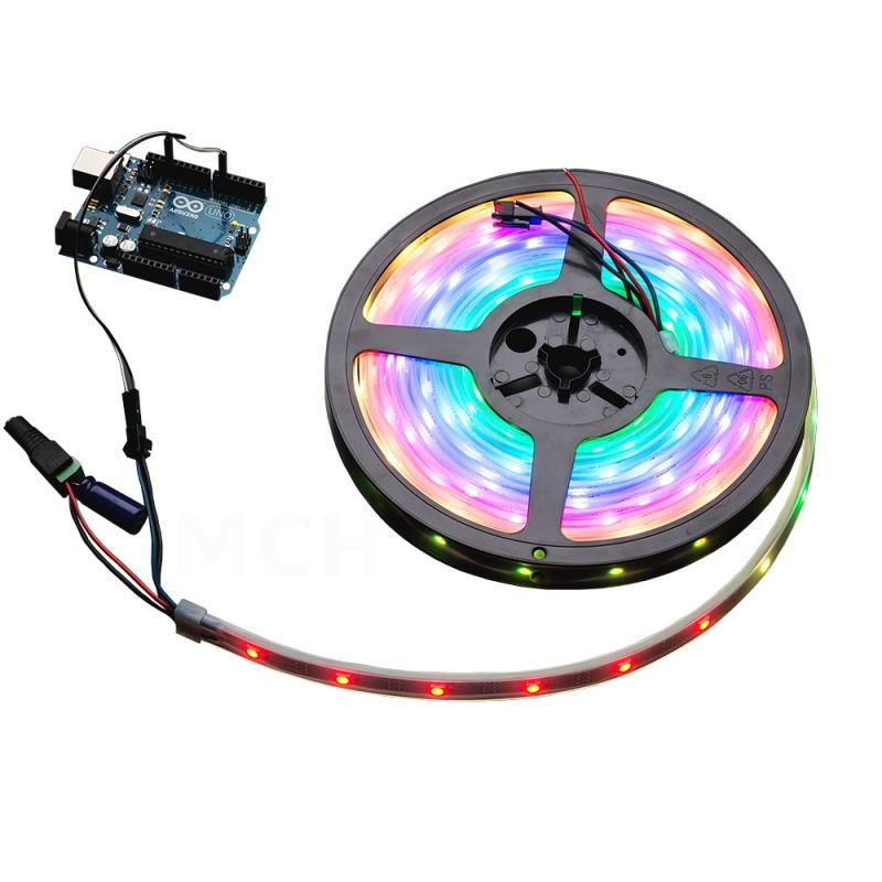 Ruban LED RGB NeoPixel - 30 LEDs par 1m (NOIR, STRIP)