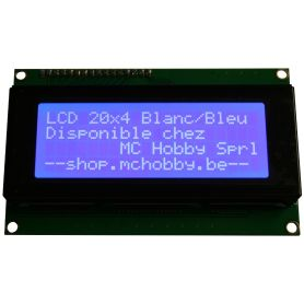 LCD 20x4 + Backpack I2C. Blanc sur Bleu