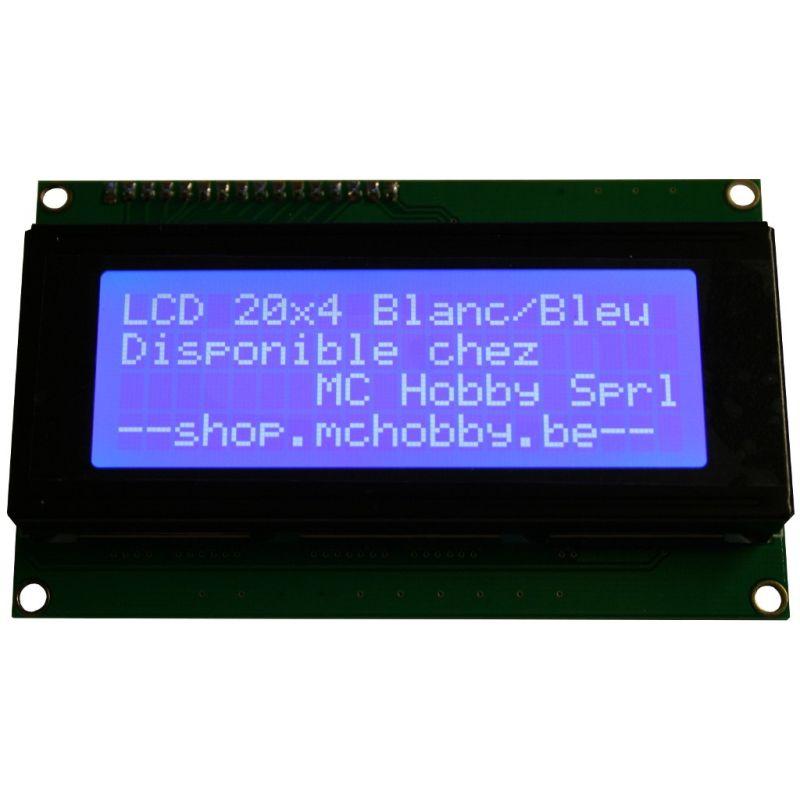 LCD 20x4 + Backpack I2C. Blanc sur Bleu