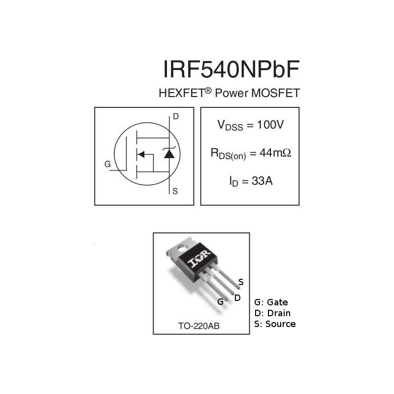 2x IRF540 MOSFET Transistors N-Channel 33A 100 V - MCHobby - Vente de  Raspberry Pi, Arduino, ODROID, Adafruit