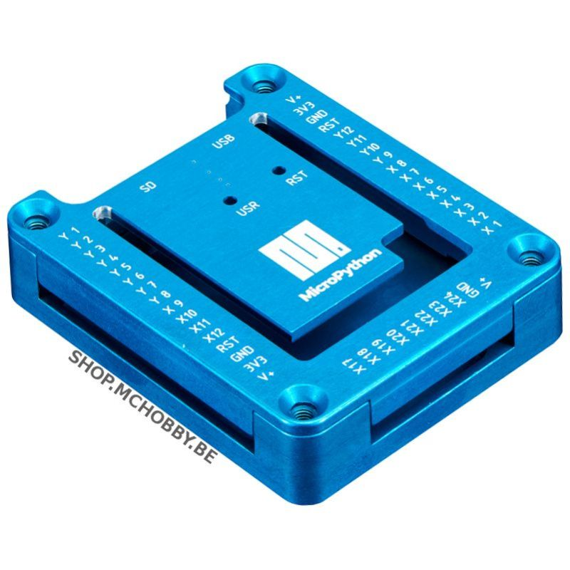 Blue anodized aluminium case for MicroPython PyBoard