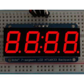 [T] - Afficheur I2C ROUGE 4 chiffres de 7 seg. - 14.2mm