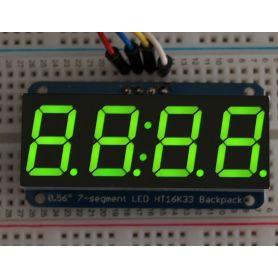 [T] - Afficheur I2C VERT 4 chiffres de 7 seg. - 14.2mm