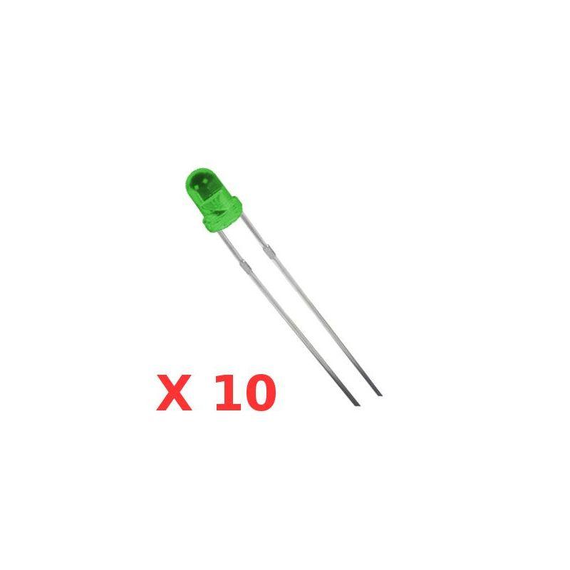 10x LEDs VERTES 3mm