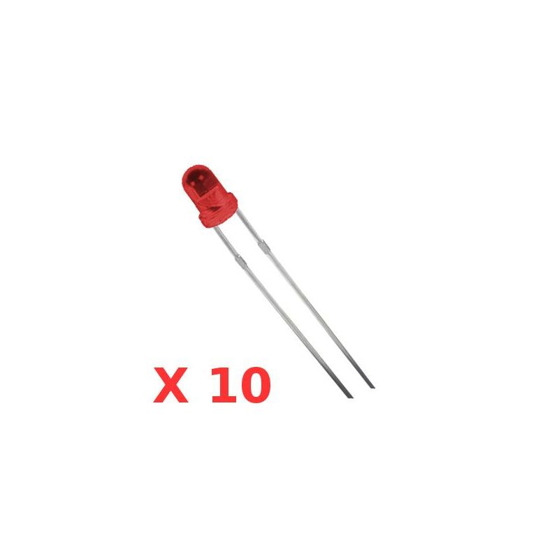 10x RED LEDs 3mm
