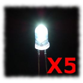 [T] - 5 LEDs Super Brillantes blanc froid