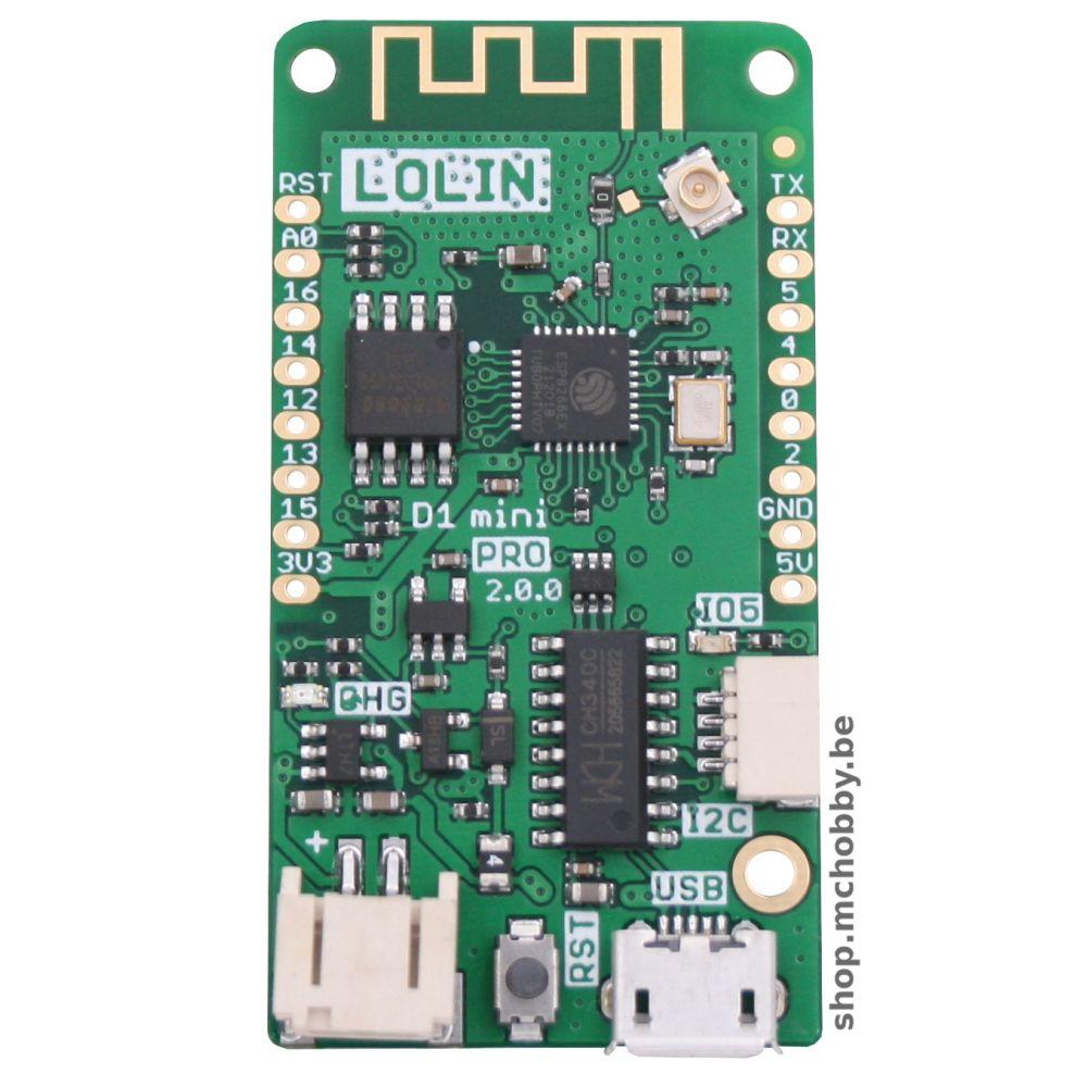 ▷ LOLIN Wemos D1 mini PRO - ESP-8266EX + 16MB flash