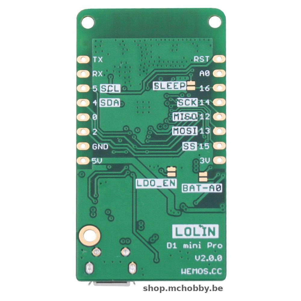 ▷ LOLIN Wemos D1 mini PRO - ESP-8266EX + 16MB flash - MCHobby