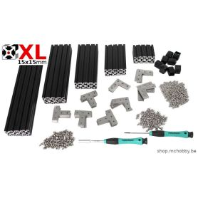 MakerBeam XL (15x15mm) - Black anodised - premium kit