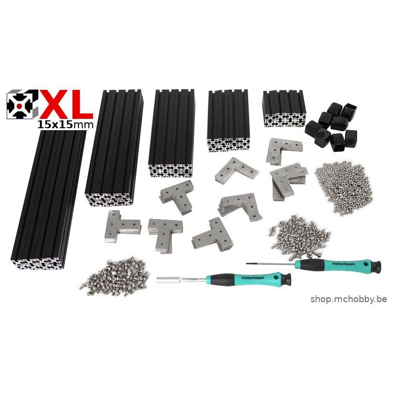 MakerBeam XL (15 x 15mm) - Anodisé Noir - kit premium