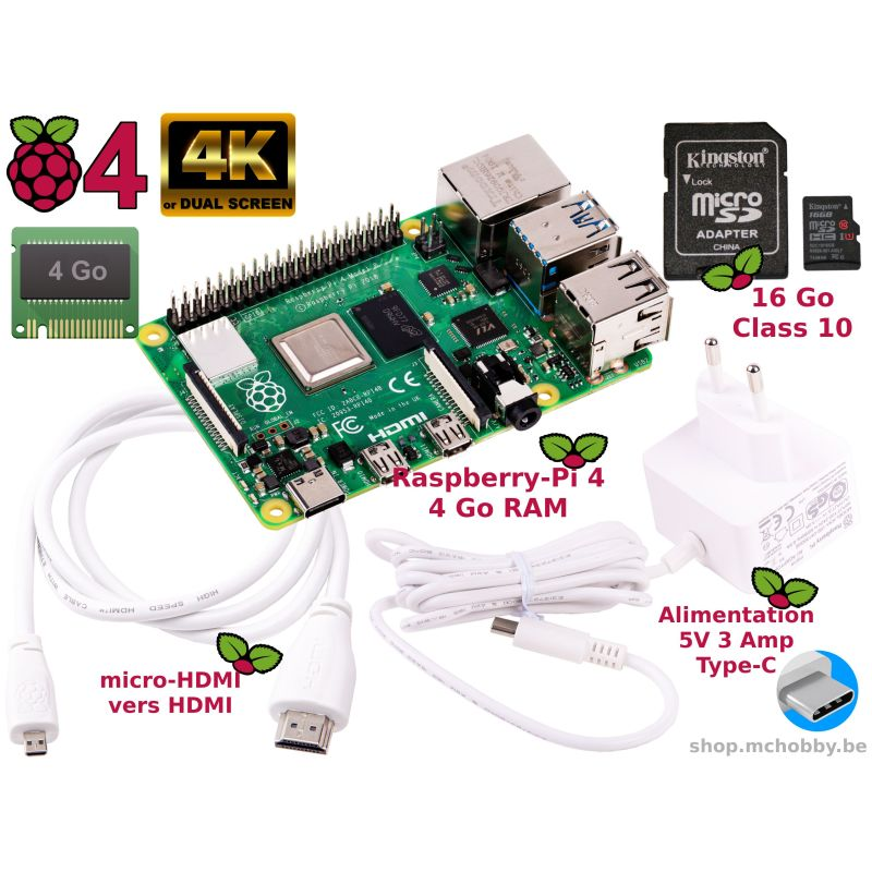 Raspberry Pi 4 4Go Essentiel Pack (Pi 4 inclus)