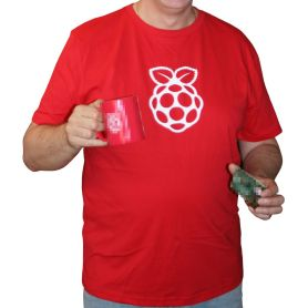 T-Shirt Raspberry-Pi officiel rouge/logo blanc