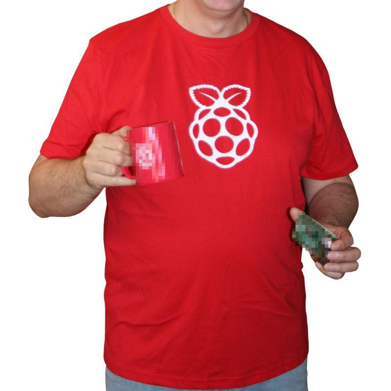 T-Shirt Raspberry-Pi officiel rouge/logo blanc