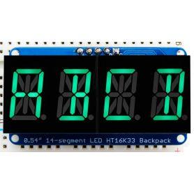 4x AlphaNumeric digits - Yellow-Green - I2C backpack - width 1.37cm