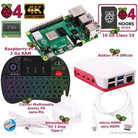 Raspberry Pi 4 - 2 Go - Kit Mediacenter BLANC (Pi incl)