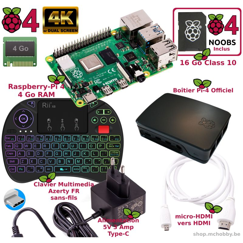 Raspberry Pi 4 - 4 Go - Kit Mediacenter BLANC (Pi incl)