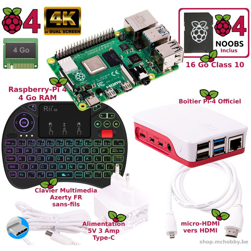 Raspberry Pi 4 - 4 Go - Mediacenter WHITE kit (Pi incl)