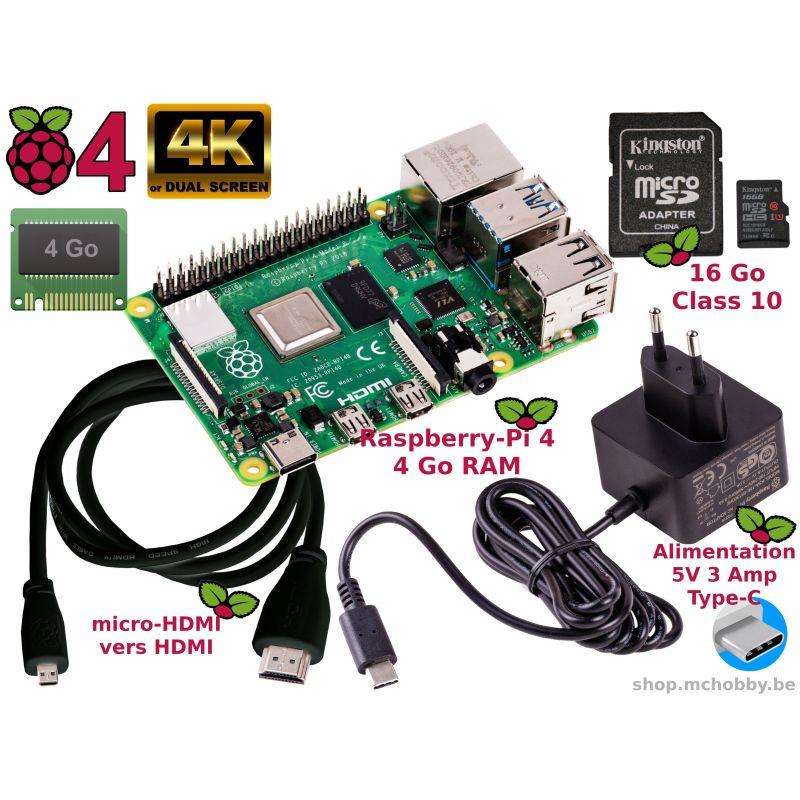 Raspberry Pi 4 4Go Essentiel Pack (Pi 4 inclus)