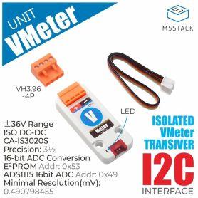 M5Stack: voltmeter – voltage measure ~36V (ADS1115), Grove