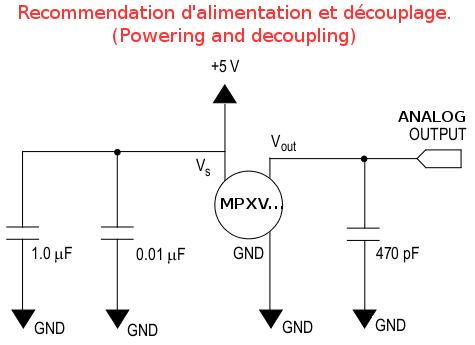 MPXV5010DP - Alimentation et découplage
