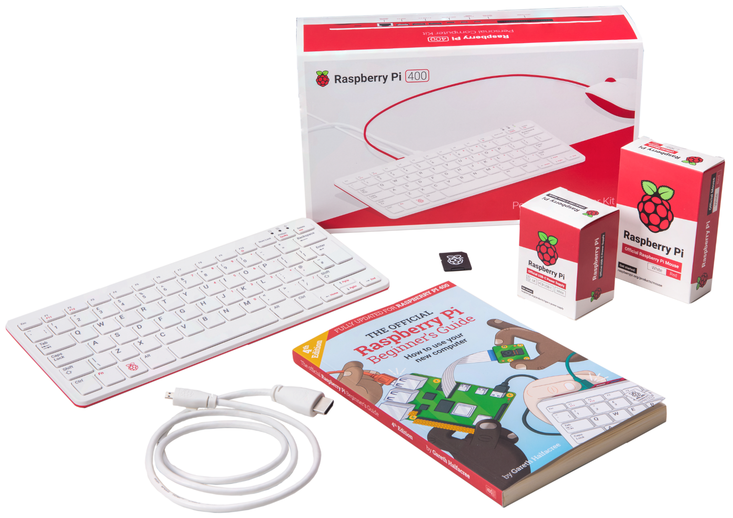 Content of the Raspberry-Pi 400 kit
