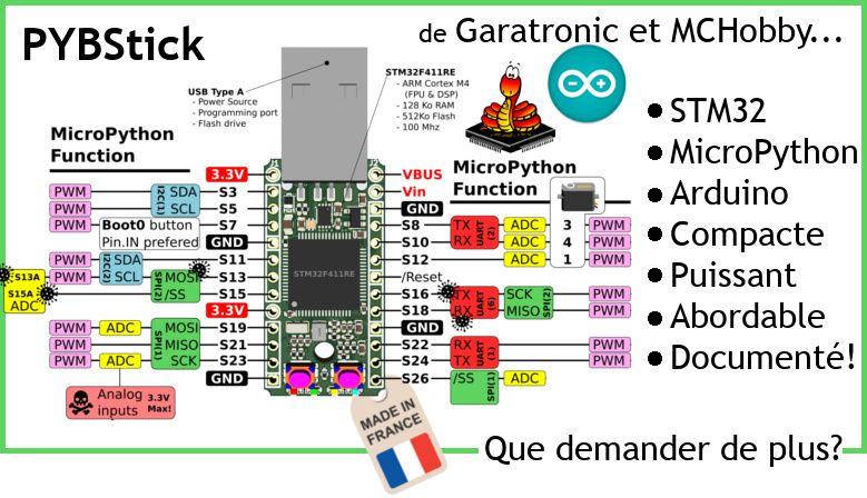 PYBStick - plateforme MicroPython et Arduino abordable et puissante