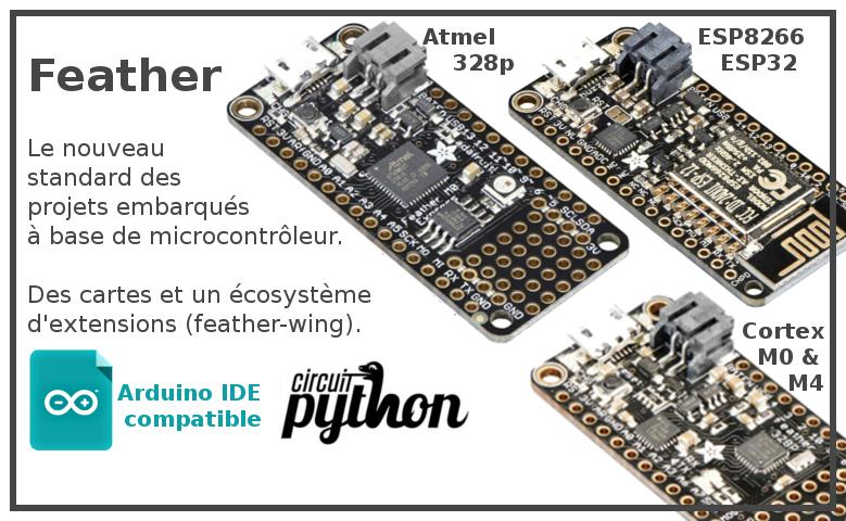 Découvrir les cartes Feather et leur eco-systeme, le nouveau standard pour les projets embarqués à base de MicroControleur